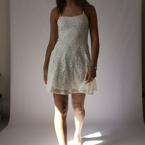 a4fb9e721 New Look cream white lace skater style summer dress. 915 I - Depop