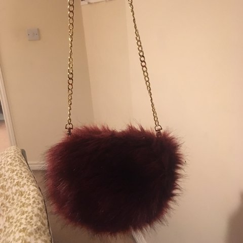 Asos Fluffy burgundy clutch bag with gold chain strap nice - Depop bfdca77ccf595
