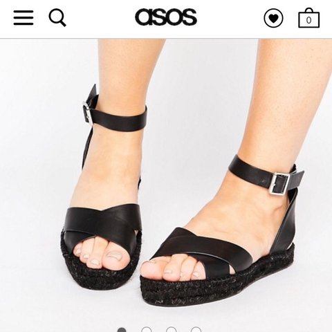 ff1ead54d4c Black espadrille sandals from Asos. Size 5 but would also a - Depop