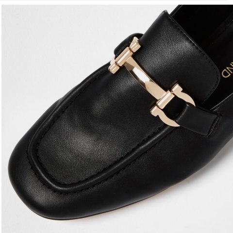 b4f93c261cd Riverisland black soft loafers with gold buckle Bought for - Depop