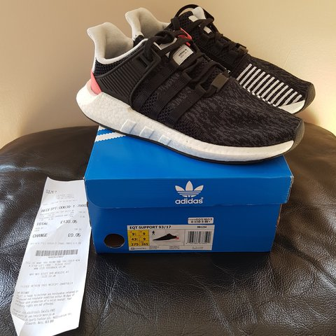 19e29bb44a805 Adidas equipment 93 17 boost black OG turbo red size 9 Item - Depop