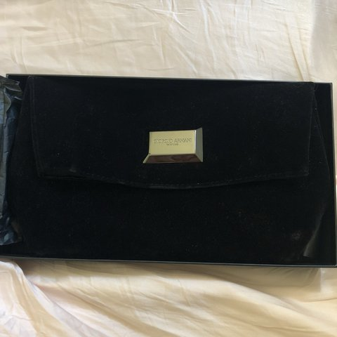 d0921e69c3 Giorgio Armani parfums black velvet clutch bag super cute a - Depop