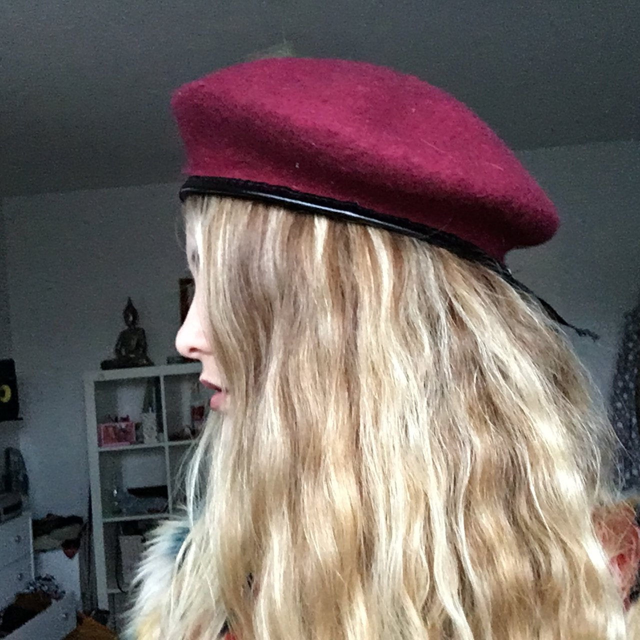 Deep maroon red military beret hat with leather trim. Size 1 - Depop 436e4ef719b