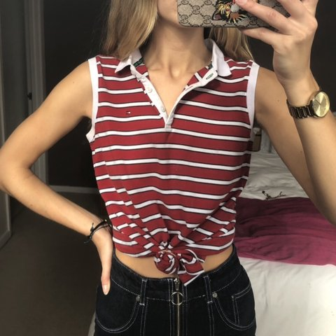 b81d58bb @josielewis_. 20 days ago. Basingstoke, United Kingdom. Vintage Tommy  Hilfiger stripy striped red and white polo button up top with the logo ...