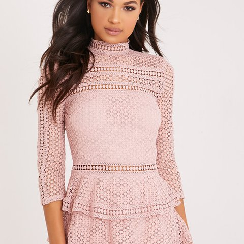 7d82207b525 Pretty Little Thing dusty pink salmon lace tiered dress with - Depop