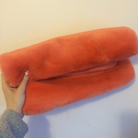 95bc294468ac Topshop orange coral faux fur roll top clutch bag    brand - Depop