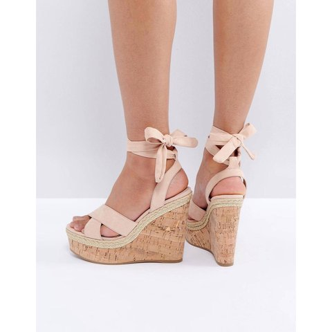 BRAND NEW ASOS nude tie up wedges size