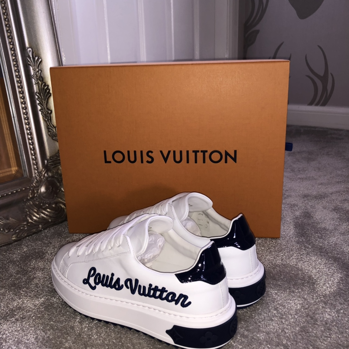 bc1379dc14 Louis Vuitton time out trainers size 2 but will fit... - Depop