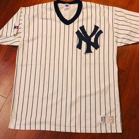 Vintage 1996 New York Yankees Pinstripe T Shirt By Russell Depop