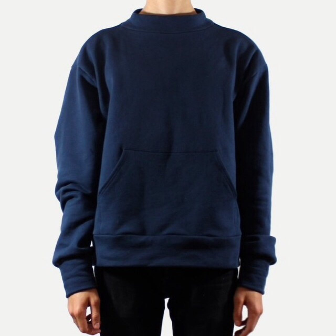 who is jacov navy moc neck sweater. oversized fit very used - Depop a027f9c2d