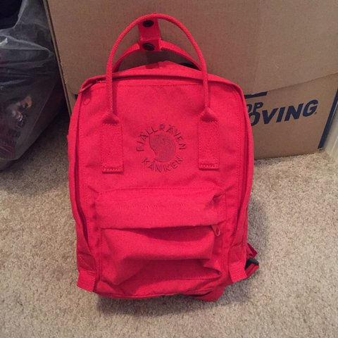 4119df40e1 fjallraven kanken mini backpack in bright red. this is the - Depop