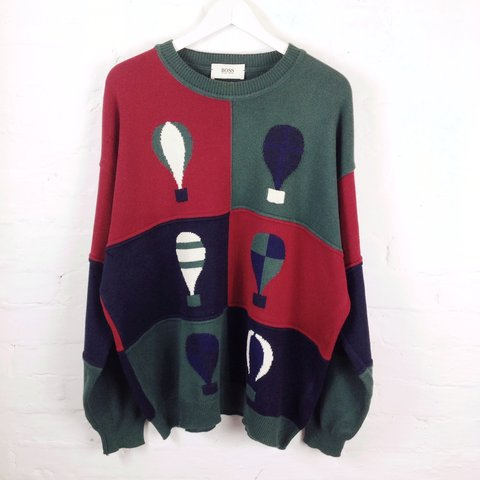 20aa4a3de1 Very rare Hugo Boss balloon print knit in great condition. - Depop