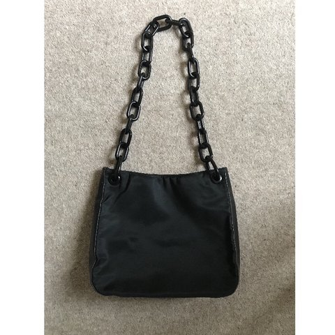495ba00dd07934 Vintage Prada black nylon and leather bag with plastic from - Depop
