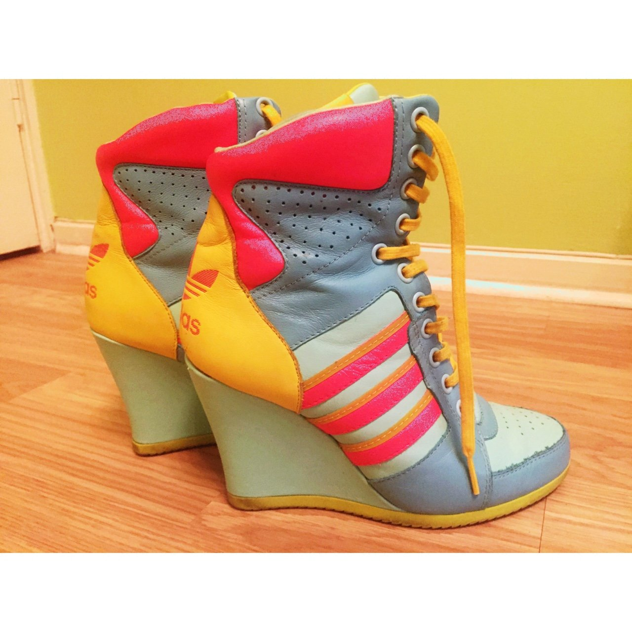4efde5ac9351 Adidas! Originals! Jeremy Scott high heel lace up wedge and - Depop