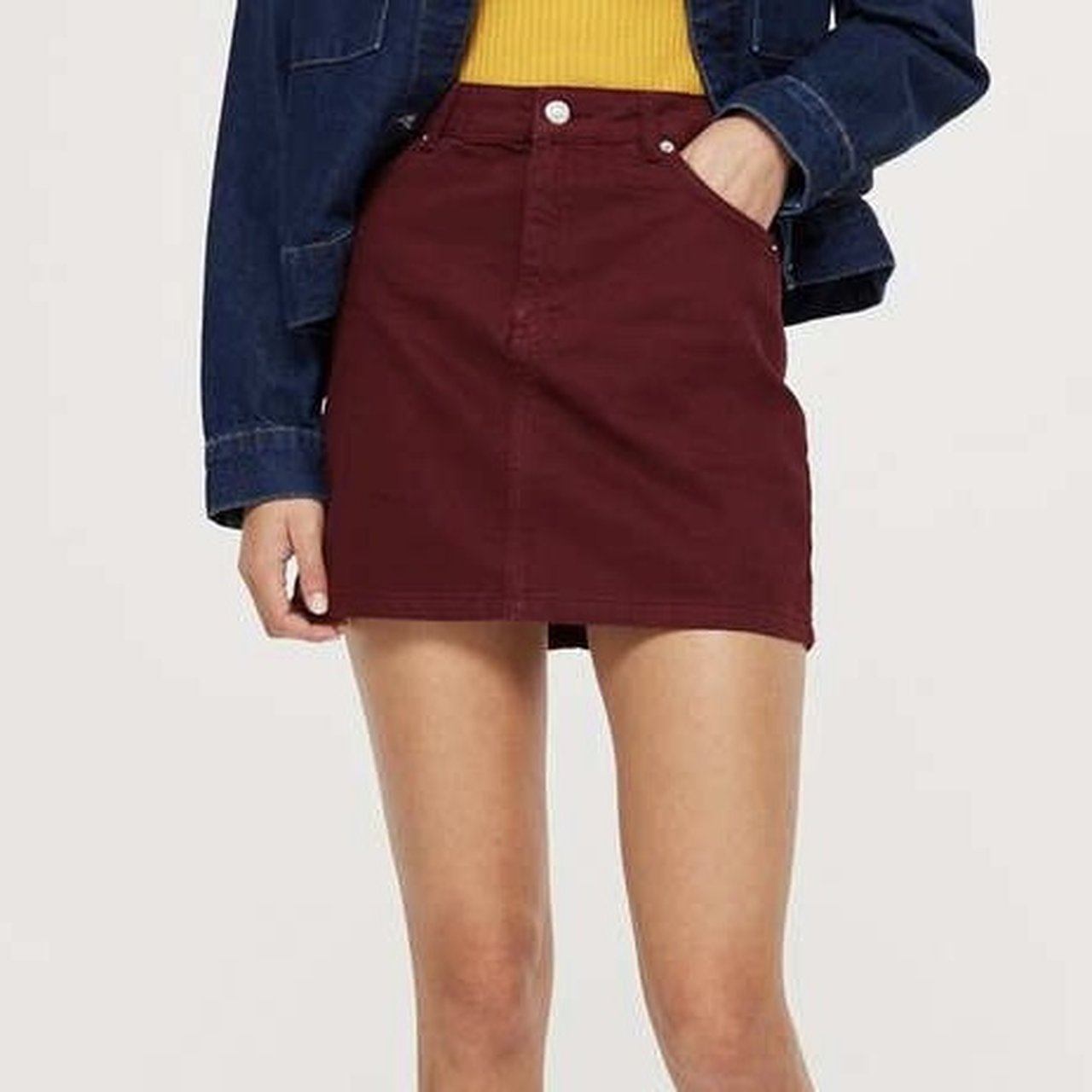 9fa5f9edaecd REDCUCED Topshop burgundy denim skirt. Only worn once so - Depop
