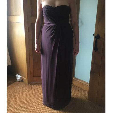4ac5736a3173 @harriet123. last year. North Cave, United Kingdom. Coast plum strapless  evening dress ...