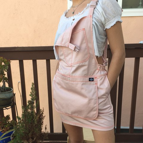 0b4f997ead UO x Dickies overall dress. Light pink with bright orange to - Depop