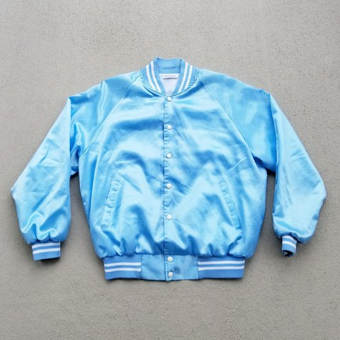 bcc50e65388b Vintage 80s baby blue satin jacket in the classic varsity XL - Depop