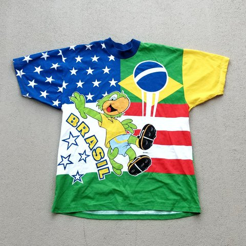 e2dbb32e9 1994 vintage Brazil vs USA world cup soccer shirt with all - Depop