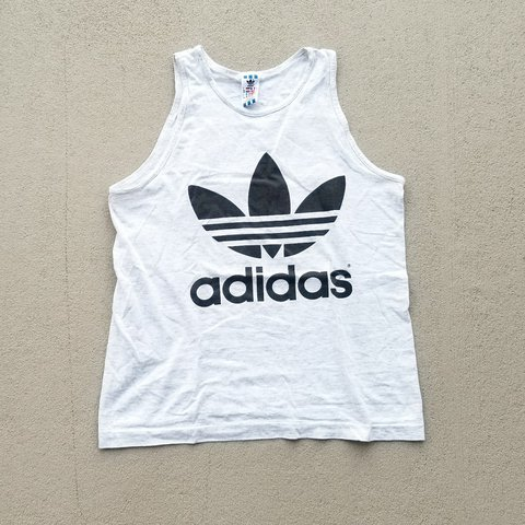 1fd40c7d0b9128 80s Adidas graphic trefoil tank top! Great condition in mens - Depop