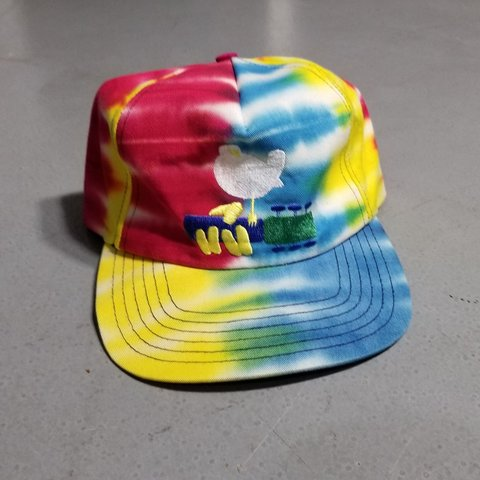 dc028f57c31 90s vintage Wood Stock tiedye snapback hat made in the USA! - Depop