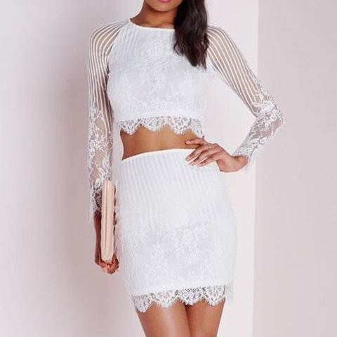 13360d8879e REDUCED** Missguided white stripe lace co-ord. long sleeve - Depop