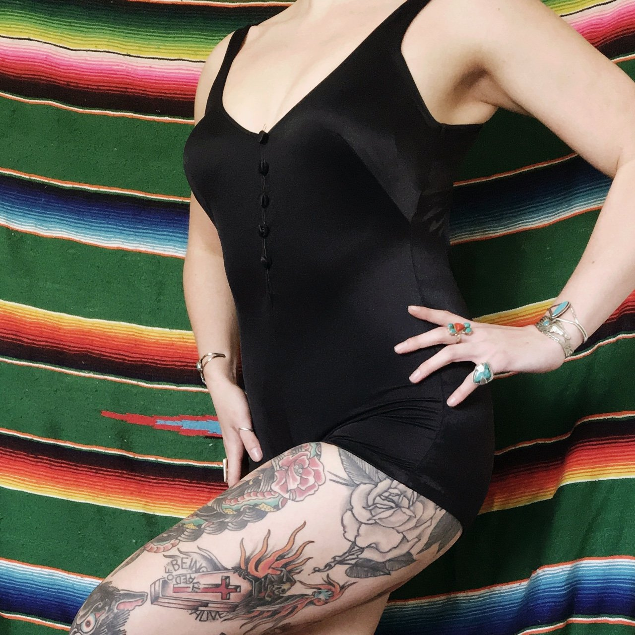 21e3783658 @wildheartedwoman. 3 years ago. Moscow, ID, USA. Vintage solid black one  piece Maxine of Hollywood swimsuit.