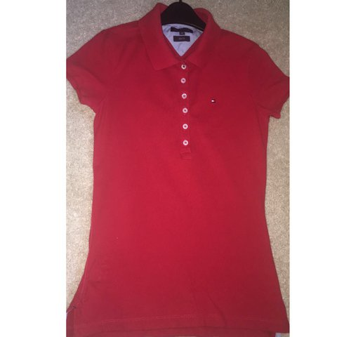2cb2d2be @paigelakin. 8 months ago. Belper, United Kingdom. Tommy Hilfiger slim fit  women's red polo. Size XS