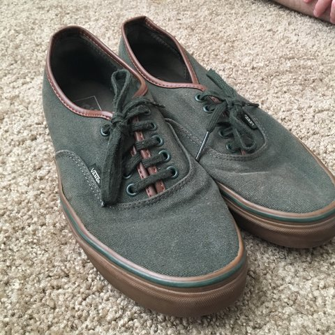 330b509cdd dark green forest vans with brown leather trim