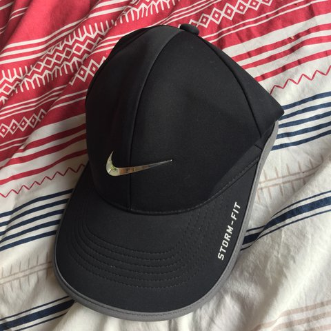 4025387dc2b Nike storm fit hat. Adjustable. One size. Black with grey on - Depop