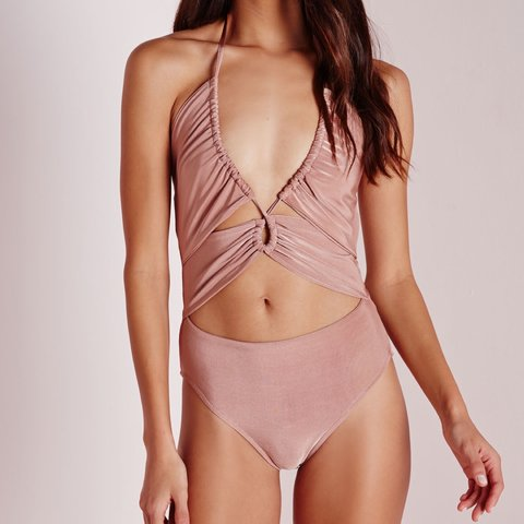 cbb91c16ca Cutest misguided bodysuit size 8-10 dusty pink shimmery in - Depop