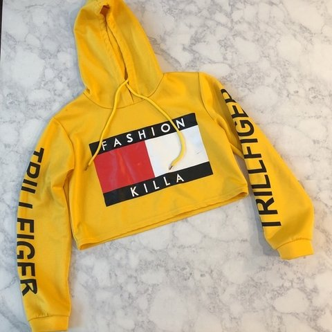 fdf85316ce4f87 @tallywalsh. 2 months ago. London, United Kingdom. Yellow Fashion Killa  Tommy 'Trillfiger' Cropped Hoodie, Size ...