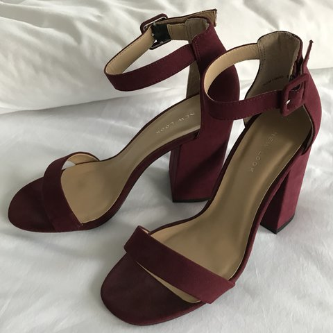 e7b8b8cef35 New Look ankle strap burgundy block heels