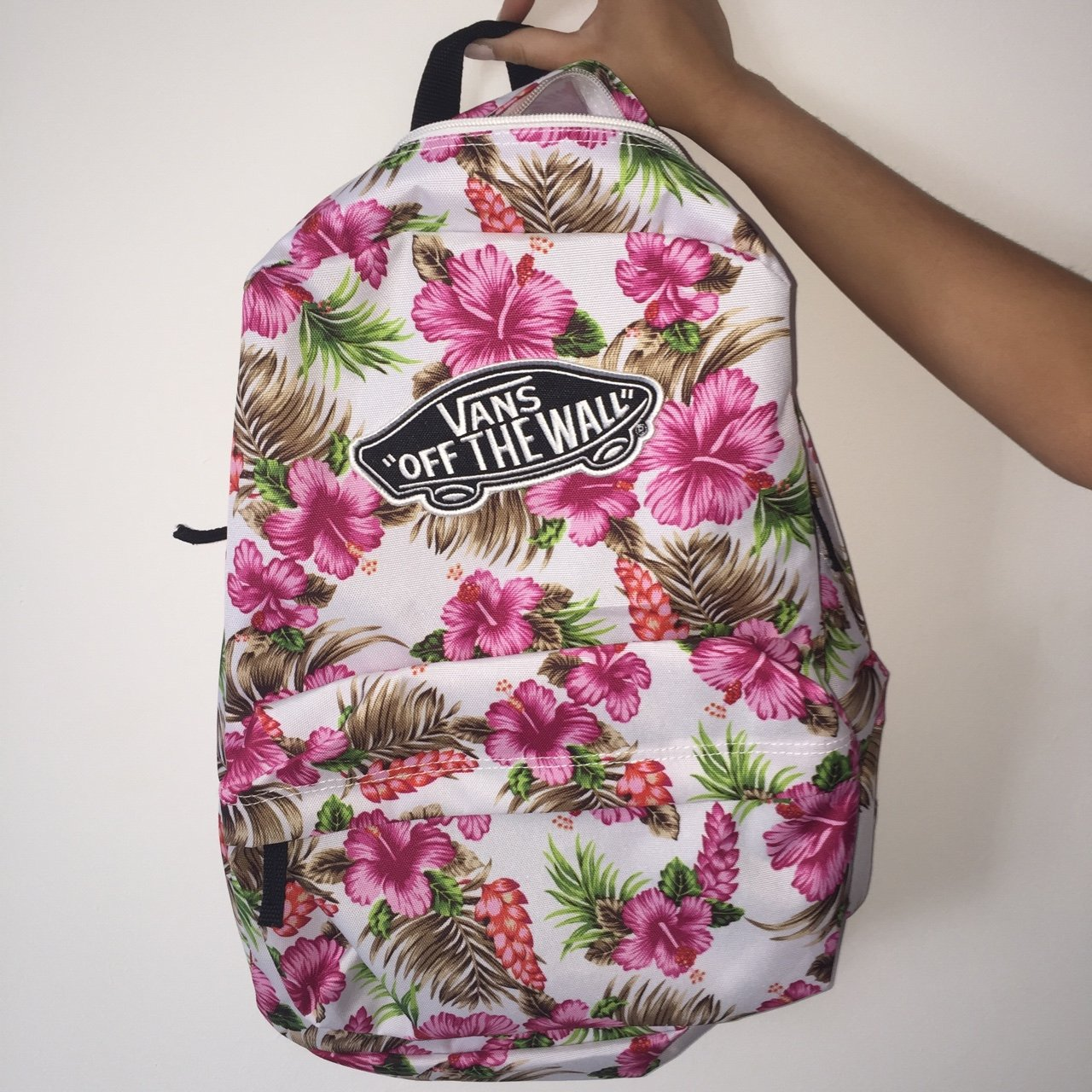 5dfa1f9e91 Brand new vans backpack. Never used!! Pink flowers and white - Depop