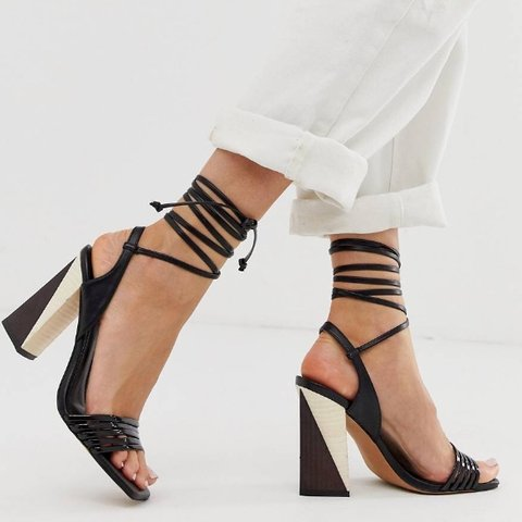 0fcf5fabe7c Really funky Asos block heels with tie ankle strap. black   - Depop