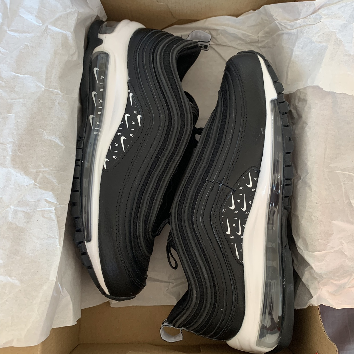 Nike Air Max 97 black white overbranded UK 4 EU Depop