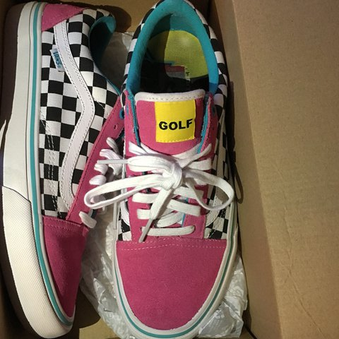 58195c554e8b Golf Wang Blue Pink White Old Skool Vans Pro These came with - Depop