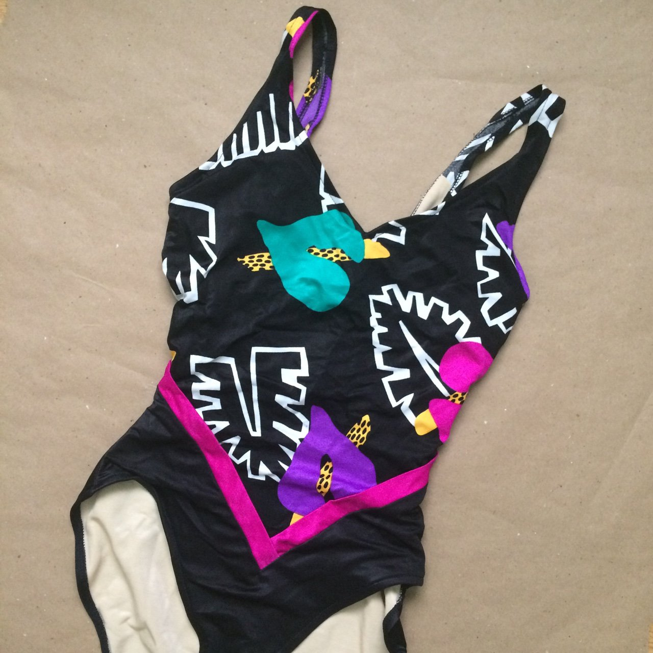 af4f7d9dac5 @themerryvintage. 2 years ago. California, USA. Amazing vintage 80s  colorful patterned one piece swimsuit ...