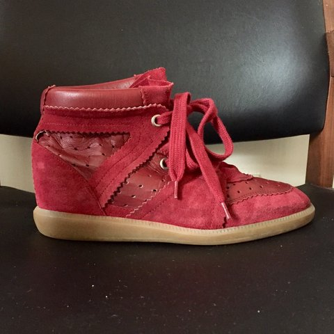 3810ce8e7f3 Isabel Marant Betty burgundy wedge trainers. Excellent only - Depop