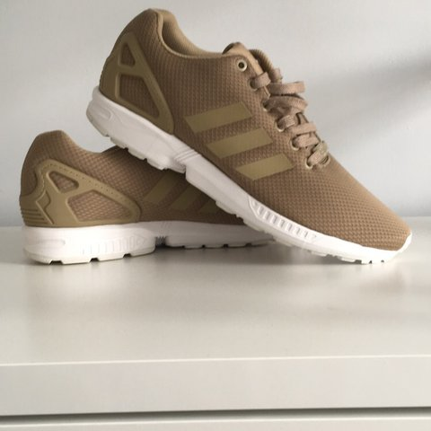c0b06064caaf0 Adidas ZX Flux • Gold with white sole • Worn once or twice - Depop