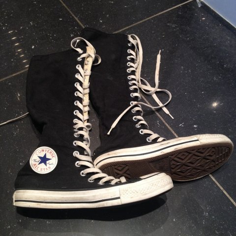 Size 6 black and white knee high converse! They have zips on - Depop 485e56650