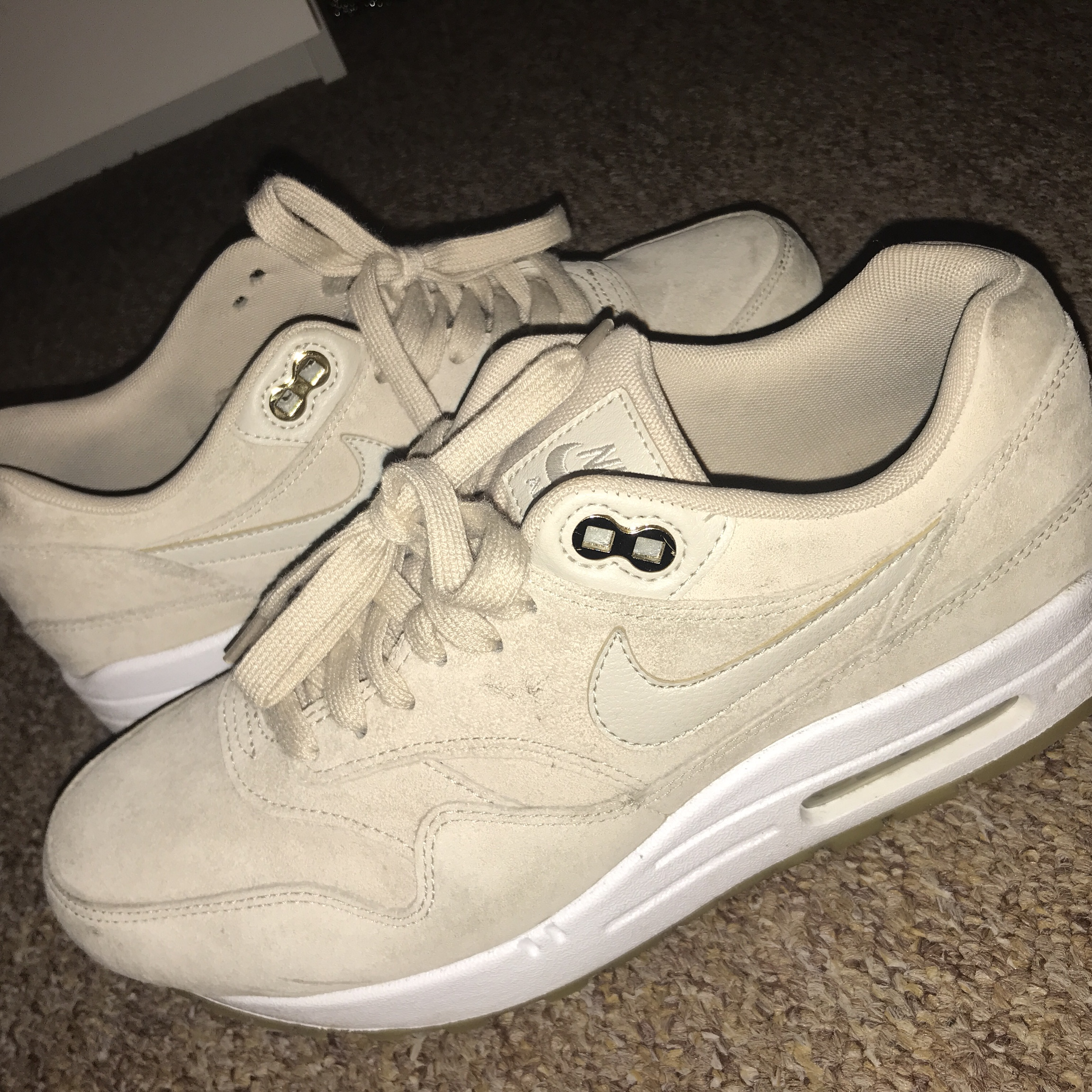 Women's Nike Air Max 1 Oatmeal White Suede Size 5 Depop