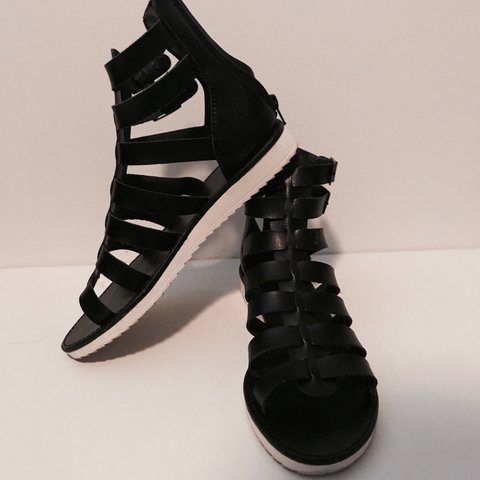 81ed9eb6ed6 Black Gladiator sandals with white sole from Target! size 9! - Depop