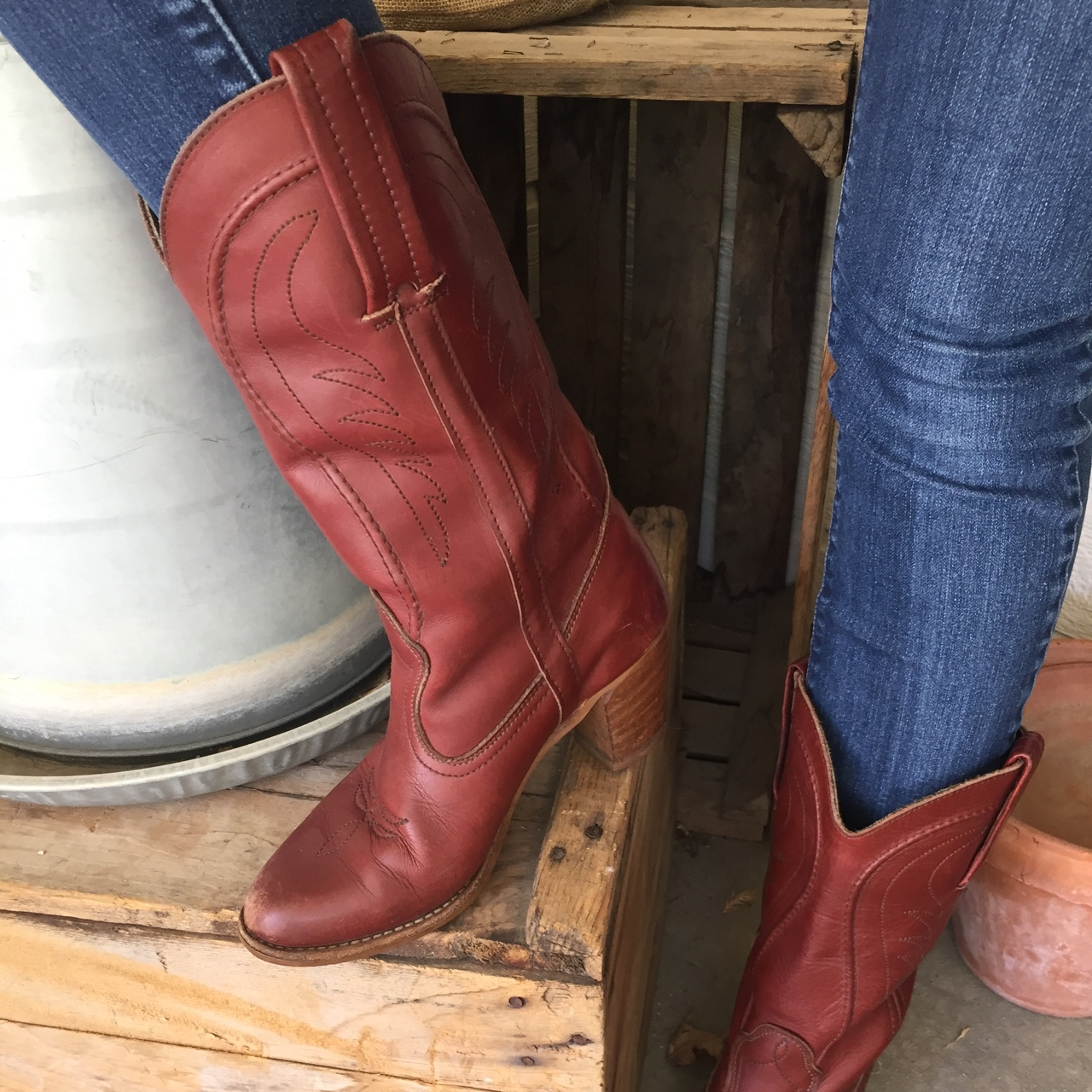 144693b1338 Vintage Oxblood Dex leather cowgirl boots with... - Depop
