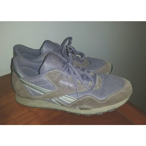 9e60d7c3d43ae Women s men s Pastel Purple and Silver Vintage Reebok 9 like - Depop
