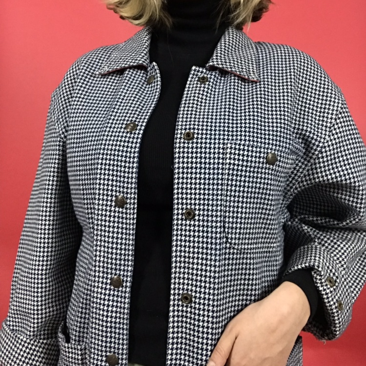 Vintage Houndstooth Jacket! I Found This At My by Depop