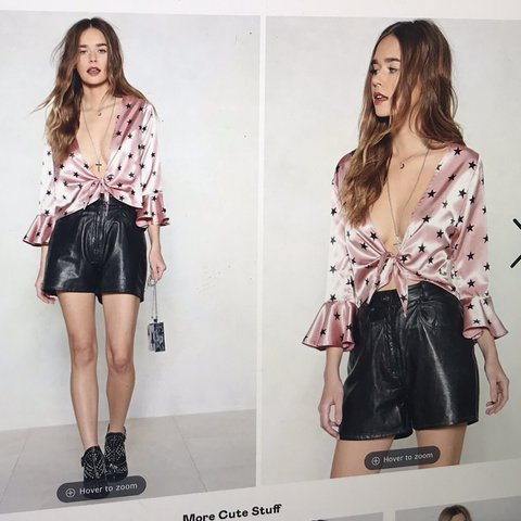 7e2aa90f93615  BRAND NEW WITH TAGS  nasty gal pink satin tie front blouse - Depop