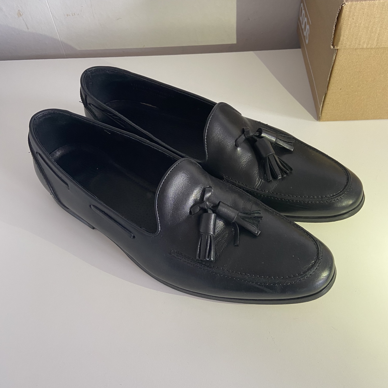 missus black leather loafers Harsh