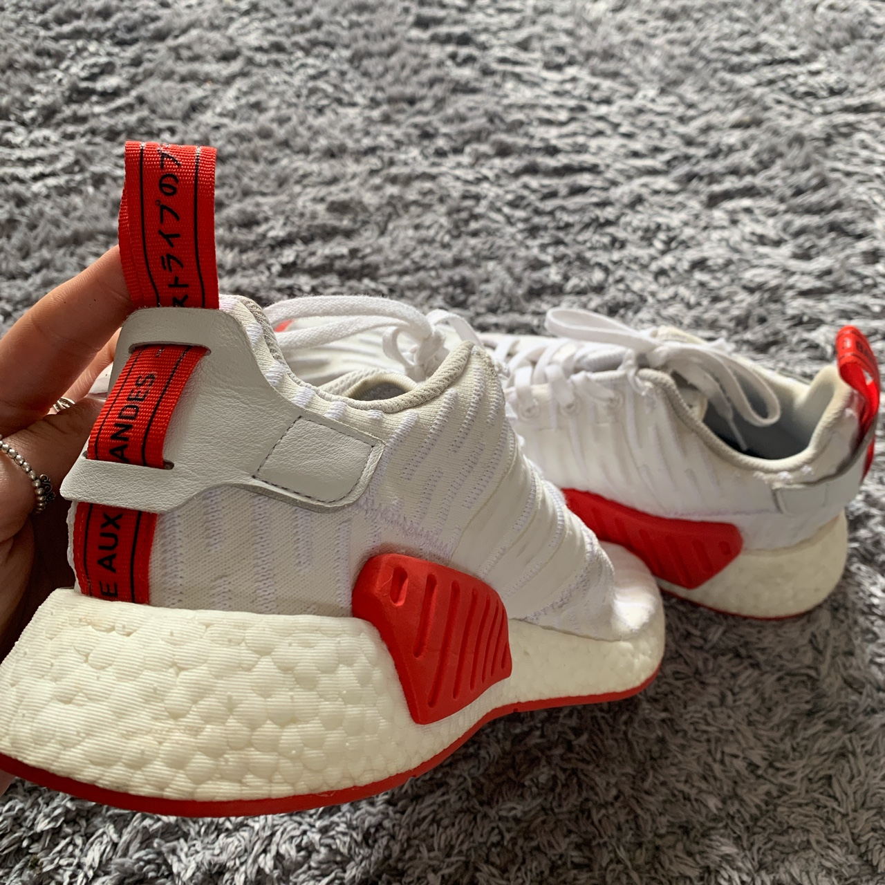 Uk Men S Adidas Nmd R2 White Core Red Two Toned Depop