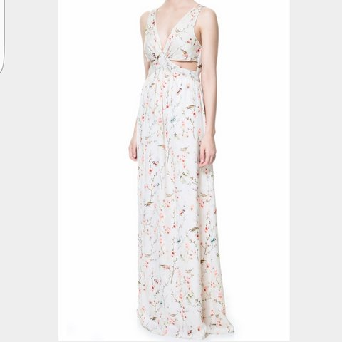 2f2eba42 Stunning Zara Japanese Bird Print Side Cut Out Silky Maxi my - Depop